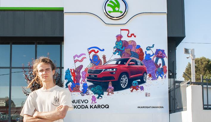 @IvanMcgill ilustró un mural de 6x6 metros en el concesionario Motor Tomé en Madrid