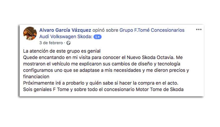 Opiniones F.Tomé clientes. Alvaro García Vázquez a través de nuestra página Facebook